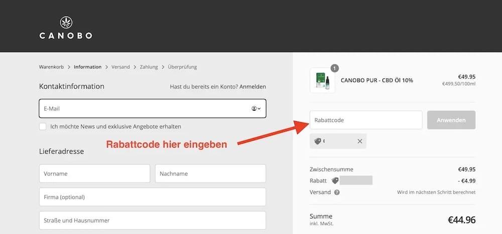 Canobo Rabattcode einläsen